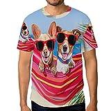 Camisetas para hombre con gafas de sol hamaca verano playa tropical palmera personalizada verano casual camisetas Multicolor multicolor L