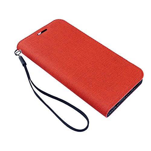 Apexel Woven Pattern Wallet Cover Case with Hand Strap and Stylus for Samsung Galaxy S6 Edge - Red