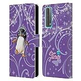 Head Case Designs Licenciado Oficialmente Animal Club International Penguin Pet Royalties Carcasa de Cuero Tipo Libro Compatible con Huawei P Smart (2021)