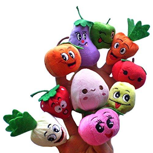 Happy Cherry - Lot de 10 Marionnette à Doigt en Forme de Fruits et Légumes - Marionnette à Doigt Mignon pour Bébé Enfant