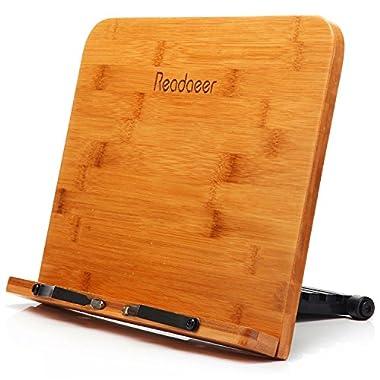 Readaeer BamBoo Reading Rest Cook Book Document Stand Holder Bookrest