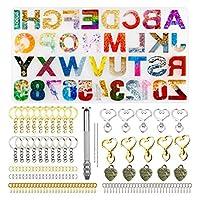 シリコンモールド シリコン型逆樹脂キャスティングアルファベット文字キーチェーンエポキシ樹脂型キーホルダーエポキシ樹脂型DIYキット (Color : 239pcs set)