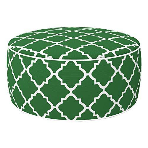 Aktive 79032 - Puff hinchable, Puff exterior, Reposapiés hinchable, Ø53x23 cm, color mosaico verde, Tejido impermeable, soporta 100 kg, mobiliario jardín exterior, Aktive