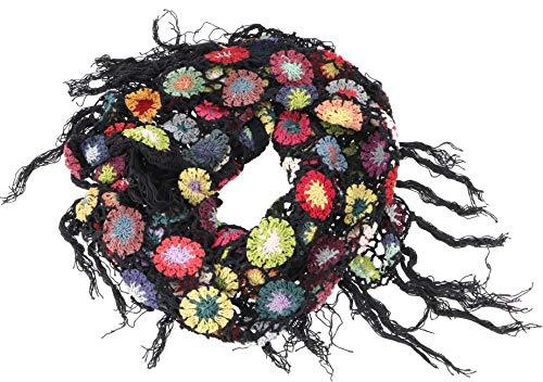 GURU SHOP Häkelstola, Hippie Blümchen Häkelschal, Herren/Damen, Schwarz, Baumwolle, Size:One Size, Schals Alternative Bekleidung