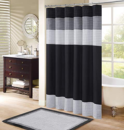 "Comfort Spaces Windsor Bathroom Shower Pieced Ruffle Pattern Modern Elegant Microfiber Fabric bath curtains, 72""x72"", Black"