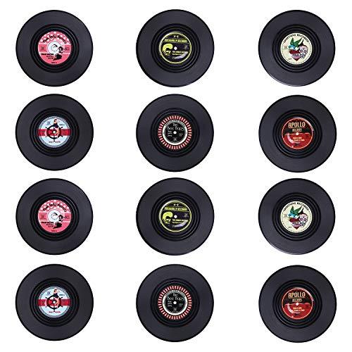 Coolty 12 Pezzi Rotonda Vintage CD Vinyl Record Sottobicchieri, Anti-Heat/Slip Sottobicchieri per Caffè tè Boccale di Birra Vino in Vetro casa e Bar, 10 * 10 * 0.2cm