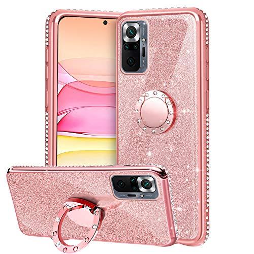 TVVT Glitter Crystal Funda para Xiaomi Redmi Note 10 Pro/Note 10 ProMax, Glitter Rhinestone Bling Carcasa Soporte Magnético de 360 Grados Ultrafino Suave Silicona Lujo Brillante Rhinestone - Rosa