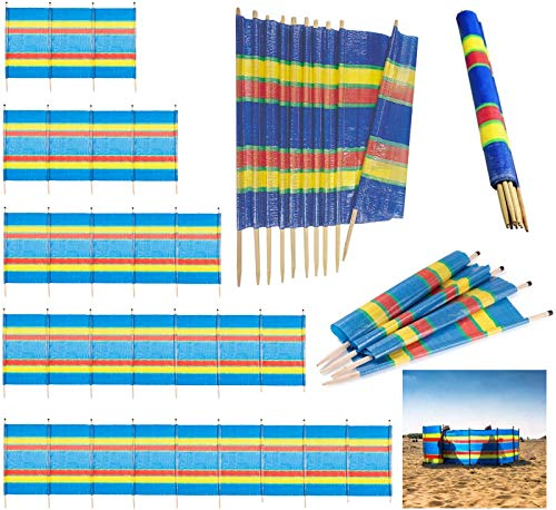 Bargains Hut 4 5 6 8 10 Pole Windbreak Wooden Windbreaker Beach Camping Caravan Holiday Sun Screen Shelter Tall Wind Break (4 Poles (4ft High x 7ft Long))