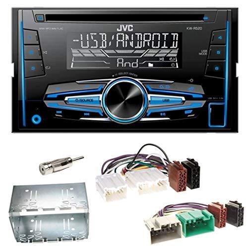 JVC KW-R520 2-DIN Autoradio mit CD USB MP3 AUX Einbauset für Volvo S40 V40 850