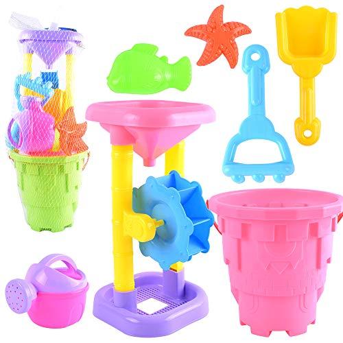 Children's Strand Speelgoed, Peuter Speelgoed Strandzand Speelsets Sneeuw Met Kasteel Vat Schimmel En Zacht Plastic Mesh Zak,Pink