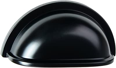 """South Main Hardware SH-3880-FB-10 10-Pack, Traditional Bin Cup Drawer Handle Pull, 3"""" Center, 3.4"""" Length, Flat Black Finish, 10 Piece"""