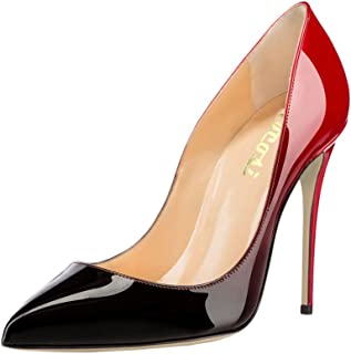 Pointy Toe Pumps for Women,Patent Gradient Animal Print High Heels Usual Dress Shoes