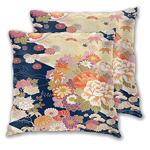 VINISATH Juego de 2 Fundas de cojín,Kimono Beautifu Japón Fondo japonés,Decorativa Cuadrado Suave Funda de Almohada Sofá Sillas Cama Decoración para Hogar,45x45cm
