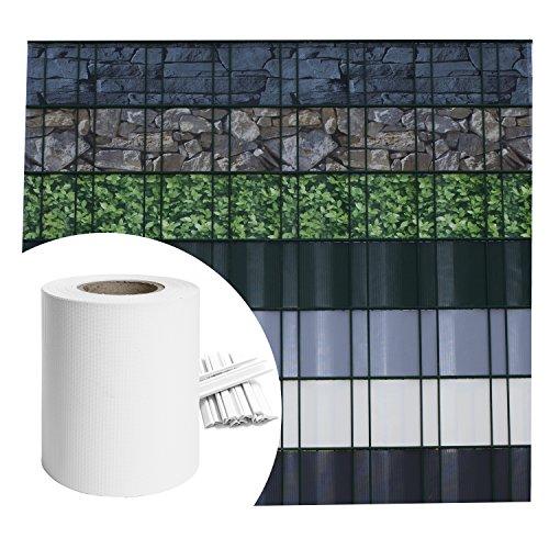 Sichtschutz PVC - Weiß RAL 9010 - 35m (7m²) - Doppelstabmatten Zaunfolie Windschutz blickdicht Windschutz