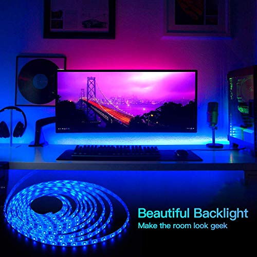 LED Strip Lights 16.4ft x 2 Rolls 5050 RGB Color Changing Lights Waterproof Flexible Tape 300 LEDs Light 32.8ft Strips Kit with IR Remote Controller Power Kit for Home Bedroom Kitchen DIY Decoration 5