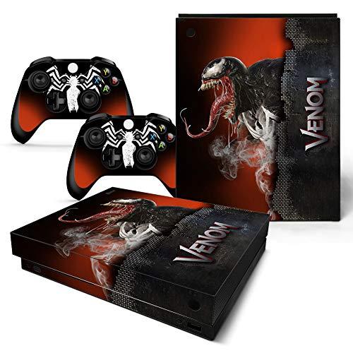 46 North Design Xbox One X Folie Skin Sticker Konsole Venom aus Vinyl-Folie Aufkleber Und 2 x Controller folie