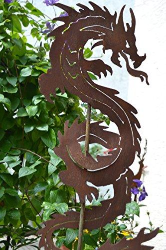 Gartenstecker chinesischer Drache - außergewöhnlicher Metallstecker - Höhe 120 cm - Fabelwesen Drache-Gartendekoration - sehr gute Qualität