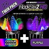 TWIN PACK - ROCKSTIX2 HD LED LIGHT UP DRUM STICKS (1 Pair COLOUR CHANGE + 1 Pair PURPLE)