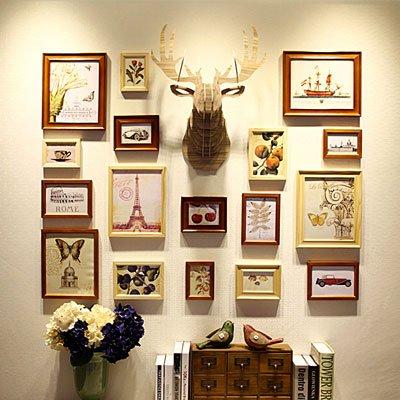 Wandklok foto wand woonkamer muur foto frame hertenkop wand Engeland fan foto wanden, hout mix wit +9 bel+logkop