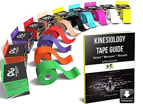 Cinta para kinesiología (2 unidades, o 1 unidades) PHYSIX Gear Sport, 5 cm x 5 m rollo, mejor impermeable soporte muscular adhesivo, Fisioterapia terapéutico ayuda, incluye cinta 82pg paso a paso guía electrónica, (Single) Blue Tape + eGuide