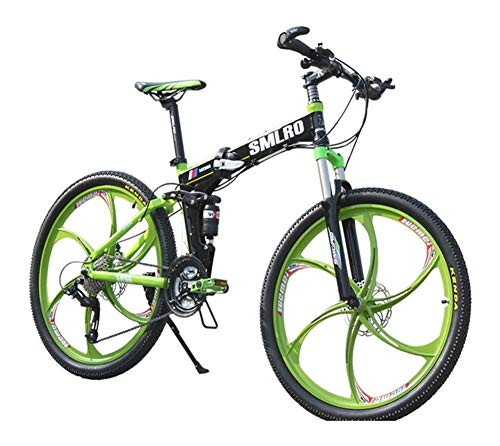 LQRYJDZ 26 - inch 27 - Speed Folding Bicycle, one - Wheel Mountain Bike, Front and Rear Suspension disc Brake (Color : Black Green, Size : 27)
