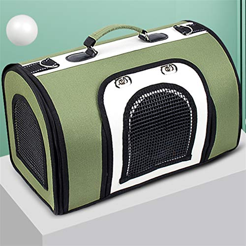 YZZ Pet Cat Bag Go Out Portable Cat Go Out Carry Bag Cat Bag Dog Back Cat Bag Dog Bag Cat Box Cage Collapsible (Color : Green+white, Size : S)