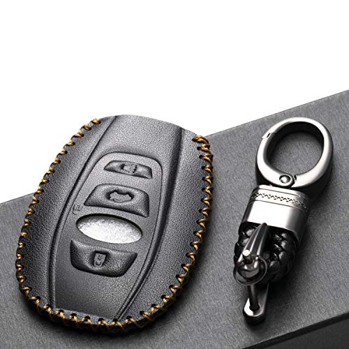 Vitodeco Leather Keyless Remote Smart Key Fob Case Cover with a Key Chain for 2019-2020 Subaru Forester, Impreza, Outback, WRX, BRZ, XV Crosstrek (4-Button, Black)
