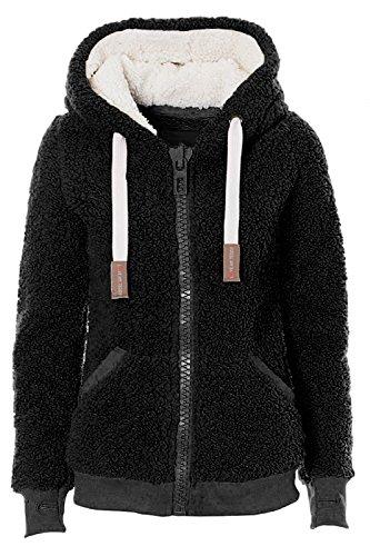 Ladies Womens Soft Teddy Fleece Hooded Jumper Hoody Jacket Coat Taupe 8-22