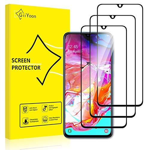 GiiYoon-3 Piezas Protector de Pantalla para Samsung Galaxy A70 Cristal Templado,[Sin Burbujas] [Cobertura Completa] [9H Dureza] Vidrio Templado HD Protector Pantalla para Samsung Galaxy A70