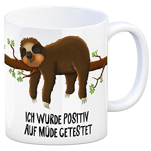 trendaffe - Kaffeebecher mit Faultier auf Baum Motiv und Spruch: Ich wurde positiv auf müde getestet