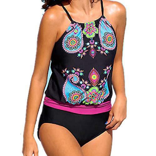 Doublehero Damen Badeanzug Tankini Set, Strand Kleidung Vintage Zweiteilige Sling Gedruckt Bikinioberteile High Waist Bikinihosen V-Ausschnitt Sexy Bikini Übergröße Swimsuit Beachwear Slip