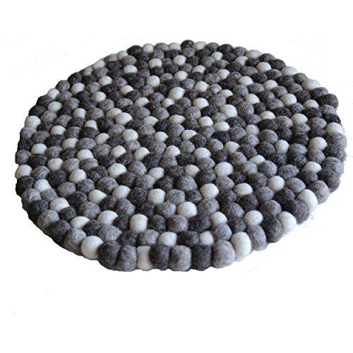 Maharanis Fairtrade Filz Untersetzer Topf Untersetzer GROSS natur hell 40 cm handgefertigt aus reiner Wolle