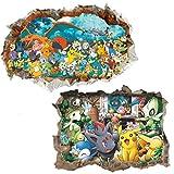 Kibi 2PCS 3D Pegatinas Pokemon Pikachu Wall Sticker Pokemon Go Pegatinas De Pared Stickers Pokemon Pared Adhesivo Pokemon