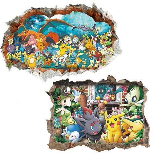 Kibi 2PCS Stickers Muraux Pokémon Pikachu Autocollant Mural pour Chambre Enfants Bébé Décoration Murale Pokémon Pikachu Peel et Stick Stickers Muraux Autocollant Pokemon Sticker Mural Pokemon 3D
