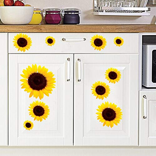 XCJXHome Decoration PVC Art Wall Sticker Sunflower Pattern Nursery Window Car Decals Bright Colors Removable DIY Interesting Lively 29X28CM
