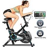 Ancheer Bicicleta Estática de Spinning Bicicleta Interior Volante 10kg, Pantalla LCD, Sillín Ajustable, Máximo Usuario130 kg (Negro)