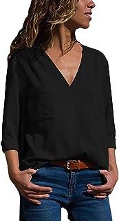 DEELIN Moda Casual OtoñO OL De Las Mujeres OL Viento De Manga Larga con Cuello En V De Color SóLido Bolsillo Camiseta Tops Camisa Negro/Blanco/Azul De Las Mujeres