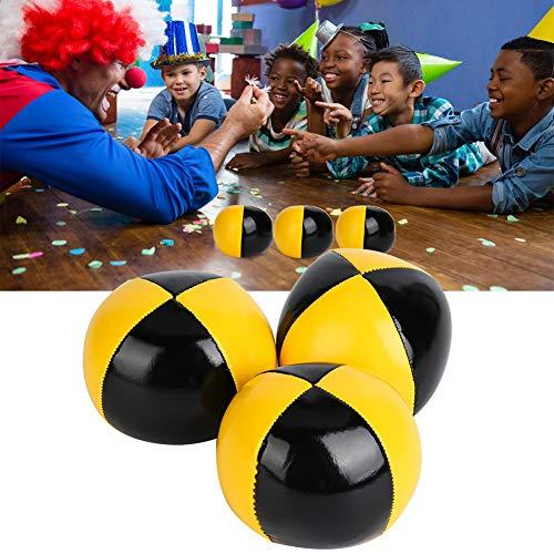 Cosiki Juego Profesional de Bolas de malabarismo de 3 Piezas - Amarillo Negro PU Thud Juego de Bolas de malabarismo Payaso Juego de Bolas de malabarismo para Principiantes