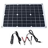 Festnight 50W 12V/5V Monocrystalline Silicon Solar Panel Dual Output USB Solar-Battery-Charger with 10/20/30A/40A/50A Solar Charge Controller