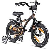 Prometheus 2022 - Bicicleta infantil (14 pulgadas, con ruedas de apoyo, a partir de 3-4 años, contrapedal, 14 pulgadas, BMX, modelo 2022), color negro y naranja