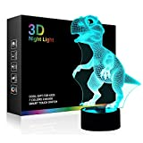 Dinosaur 3D Night Light Bedside Table Lamp, iTao 7 Colors Changing Lights Touch Switch Desk Dec…