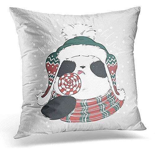 Panda Kussenslopen niet aan te brengen met rode witte ronde snoepjes op het borduursel met Bubo opschrift