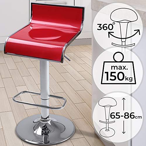 MIADOMODO Barhocker - 360° Drehbar, Höhenverstellbar 65-86 cm, Sitzschale in Kunststoff, in Rot - Hocker, Barstuhl, Tresenhocker, Barsessel, Küchenhocker, Tresenstuhl