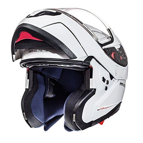MT Atom SV sólido Casco Modular de Moto DVS motocicleta bicicleta blanco brillante XL (61–62cm)