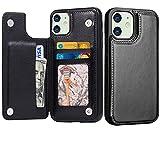 Schutzhülle für iPhone 8 Plus mit Kartenhalter, iPhone 7 Plus Hülle Wallet Premium PU-Leder Folio Flip Kickstand Kartenfächer Hülle, Doppel-Magnetverschluss, strapazierfähig, stoßfest, Schwarz