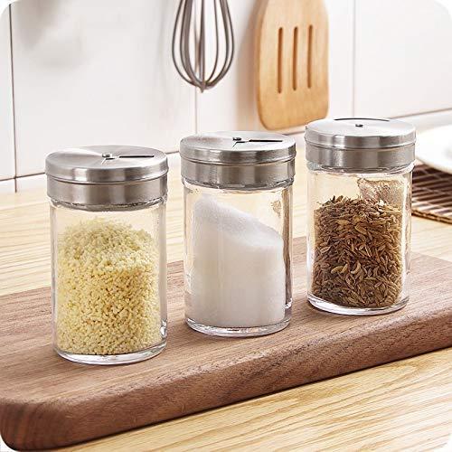 Recipiente de condimentos, Tarro de Vidrio para Especias Salero y pimentero Almacenamiento Hogar Portátil al Aire Libre Camping Botella de condimento Transparente Herramienta de Cocina