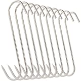 10Pcs 5 Inches Meat Hooks, Stainless Steel Butcher Hooks for Meat Processing