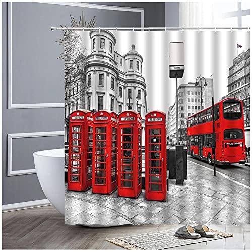 Cabina de teléfono roja Big Ben de Londres Cortina de Ducha de baño Retro Cortinas de Tela de poliéster Impermeables para la decoración del hogar del Arte de la bañera-180x180cm
