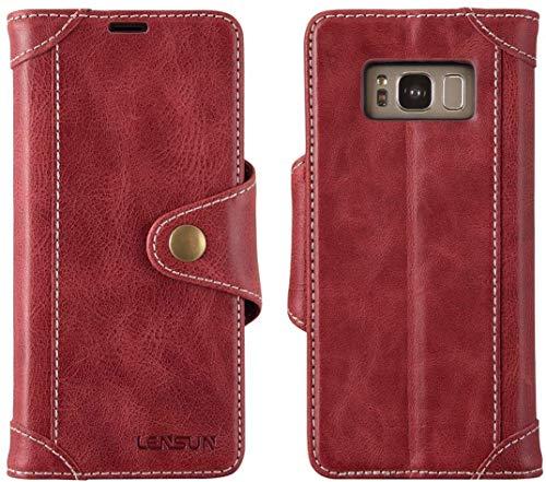 LENSUN Handyhülle Echtleder für Samsung Galaxy S8, Echtes Leder Hülle mit Magnetverschluss Lederhülle Handytasche Schutzhülle(5,8 Zoll) - Wein Rot