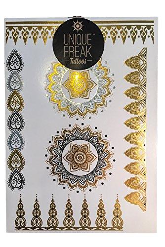 Unique Freak Tattoos Jaipur - Premium Quality Gold Metallic Temporary Tattoo Flash Sheet by Luxury Gold Embossed Packaging *STOCKINGFILLER*SECRET SANT